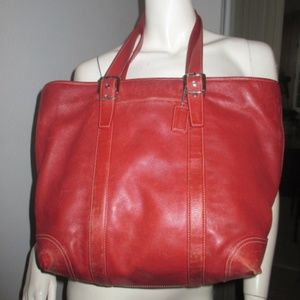 COACH RED LEATHER 6491 LARGE TOTE BAG